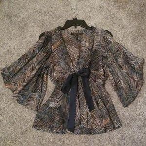 Bcbgmaxazria peacock sheer blouse